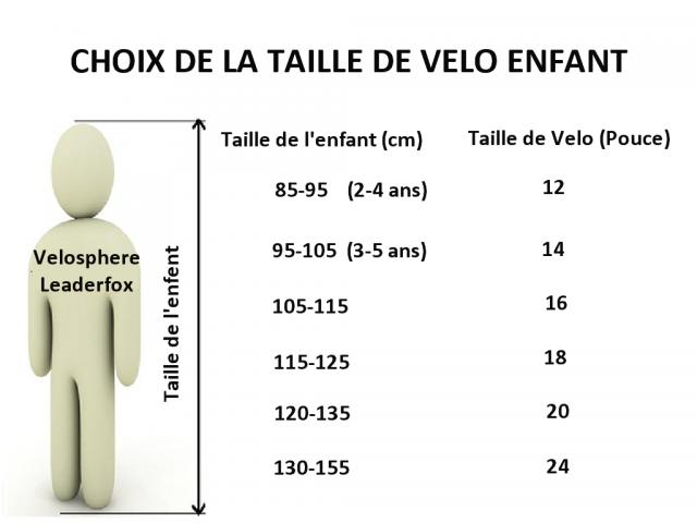 taille velo fille